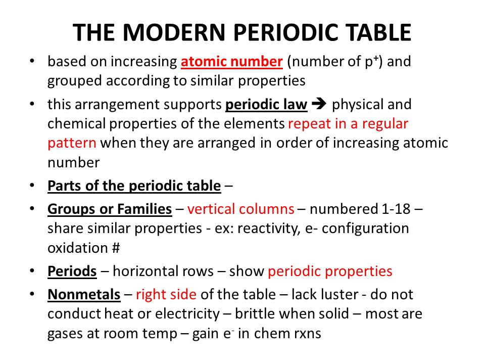 Periodic Table physical properties of elements on the periodic table luster : THE PERIODIC TABLE. THE SEARCH FOR THE PERIODIC TABLE 1860 – 60 ...
