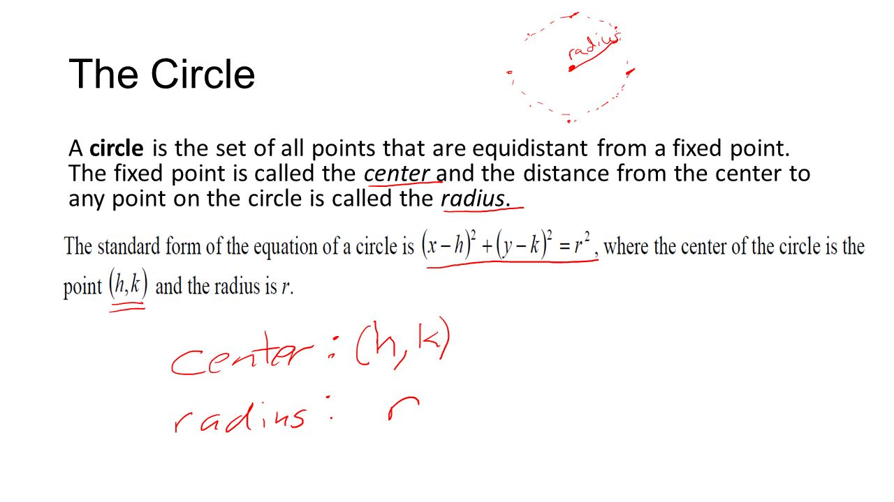 Math 1330 section 82a circles conic sections to form a conic the circle a circle is the set of all points that are equidistant from a fixed falaconquin