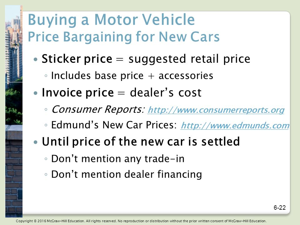Chapter Consumer Purchasing Strategies And Wise Buying Of Motor - Consumer reports dealer invoice