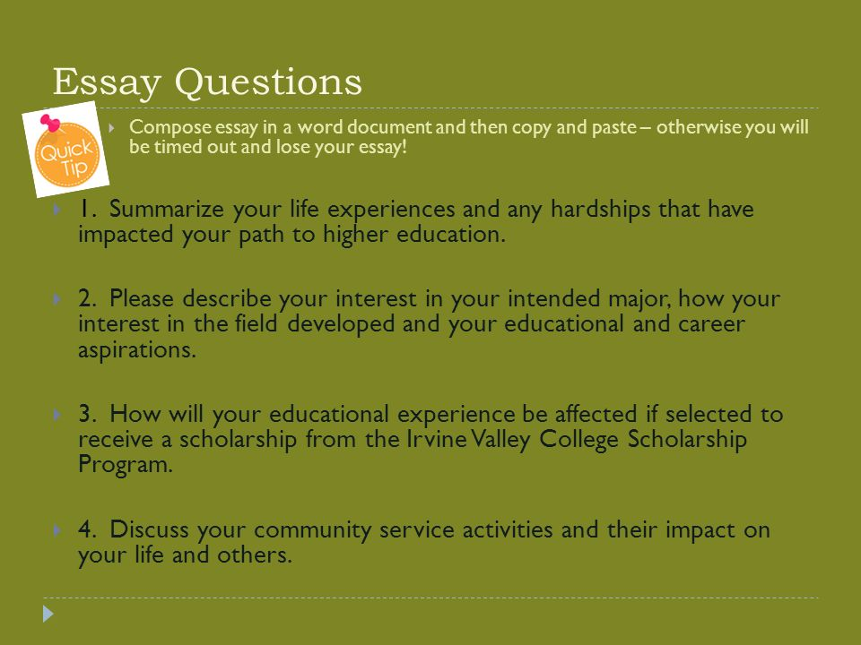 ivc scholarship essay workshop presented by transfer center staff  5 essay questions