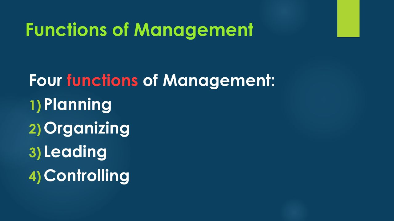Functions of Management Four functions of Management: 1) Planning 2) Organizing 3) Leading 4) Controlling