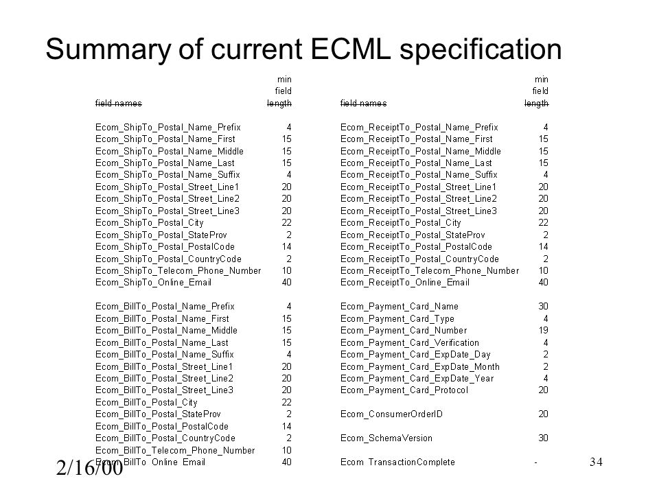 2/16/00 34 Summary of current ECML specification