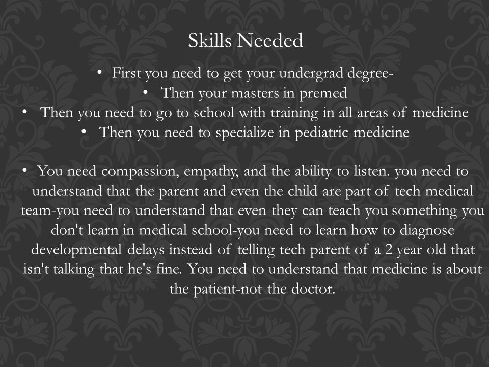 3 skills - Pediatrician Description