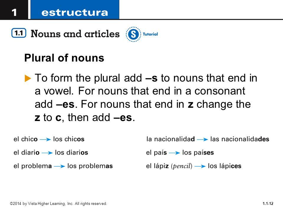 Notes # 9 Descubre Lesson 1 Copyright © 2012 Vista Higher Learning ...