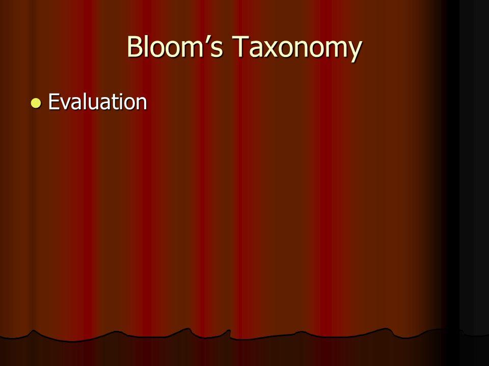 Bloom's Taxonomy Evaluation Evaluation