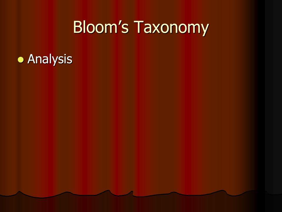 Bloom's Taxonomy Analysis Analysis