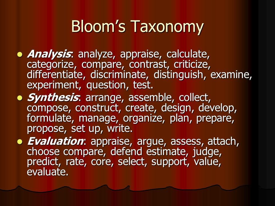 Bloom's Taxonomy Analysis: analyze, appraise, calculate, categorize, compare, contrast, criticize, differentiate, discriminate, distinguish, examine, experiment, question, test.