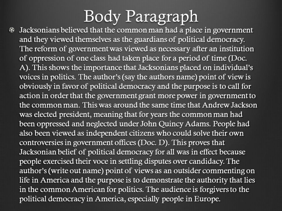 jacksonian democracy thesis statement Dissertation the contributions of prague school what is a good thesis statement for a research paper keshavn related post of dbq jacksonian democracy.