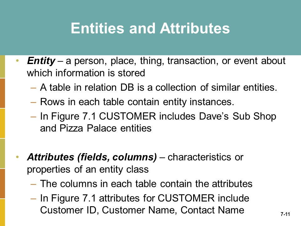 7-11 Entities and Attributes Entity – a person, place, thing, transaction, or event about which information is stored –A table in relation DB is a collection of similar entities.