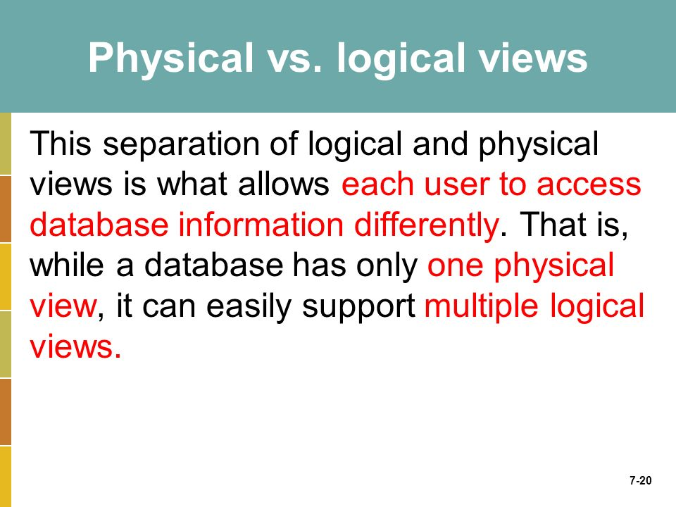 7-20 Physical vs. logical views This separation of logical and physical views is what allows each user to access database information differently. Tha