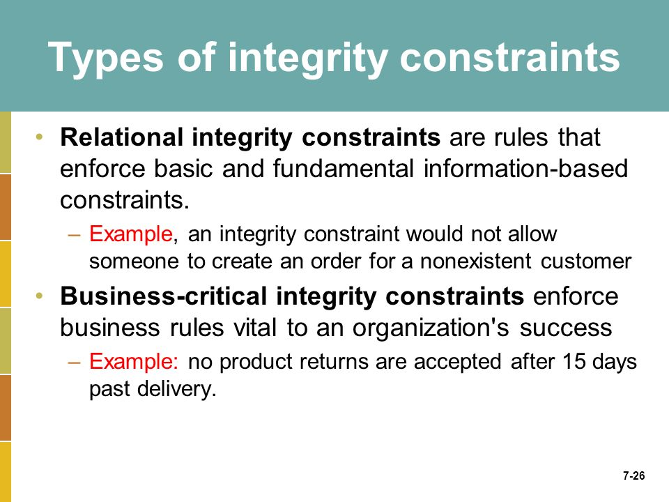 7-26 Types of integrity constraints Relational integrity constraints are rules that enforce basic and fundamental information-based constraints.
