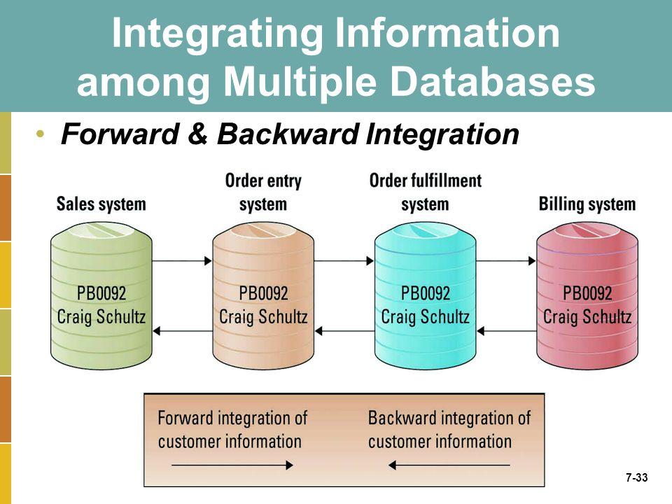 7-33 Integrating Information among Multiple Databases Forward & Backward Integration