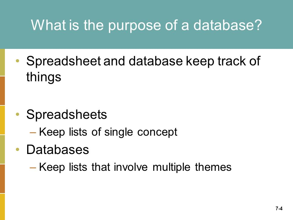 7-4 What is the purpose of a database.