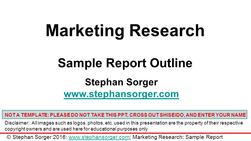 Marketing Research Sample Report Outline Stephan Sorger Not A