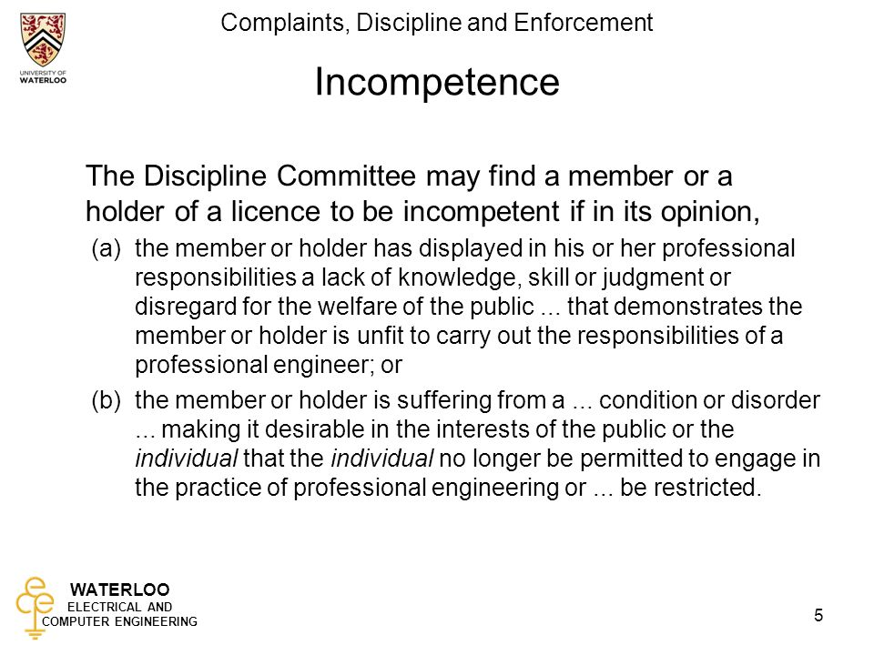 waterloo electrical and computer engineering complaints discipline and enforcement 5 incompetence the discipline committee may - Computer Engineering Responsibilities