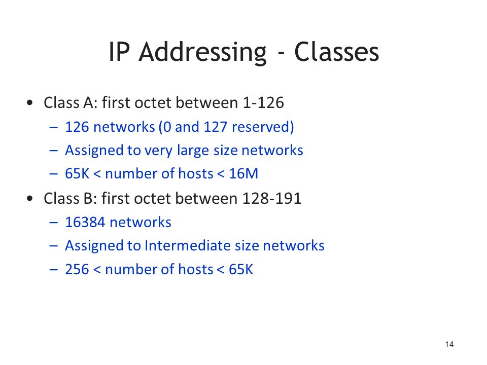 14 IP Addressing - Classes Class A: first octet between 1-126 –126 networks (0 and 127 reserved) –Assigned to very large size networks –65K < number of hosts < 16M Class B: first octet between 128-191 –16384 networks –Assigned to Intermediate size networks –256 < number of hosts < 65K