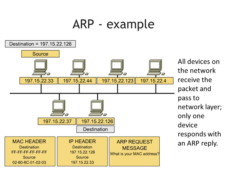 ARP - example All devices on the network receive the packet and pass to network layer; only one device responds with an ARP reply.