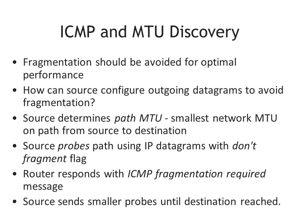 ICMP and MTU Discovery Fragmentation should be avoided for optimal performance How can source configure outgoing datagrams to avoid fragmentation.