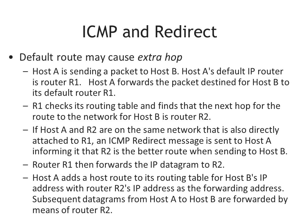 ICMP and Redirect Default route may cause extra hop –Host A is sending a packet to Host B.