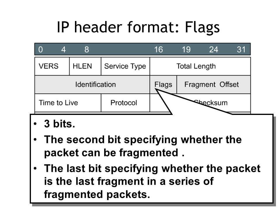 IP header format: Flags 3 bits. The second bit specifying whether the packet can be fragmented.