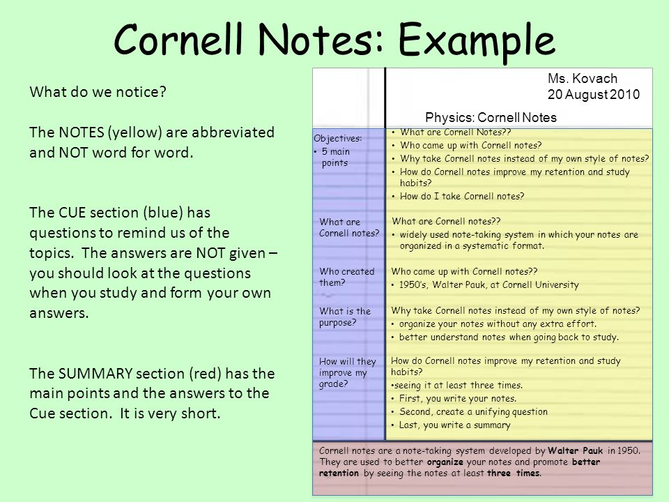 Cornell Notes What Are Cornell Notes Who Came Up With Cornell