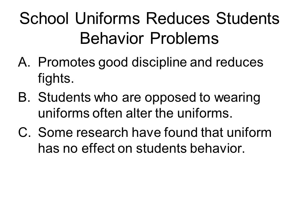school uniform persuasevi speech Open document below is an essay on school uniforms persuasive speech from anti essays, your source for research papers, essays, and term paper examples.