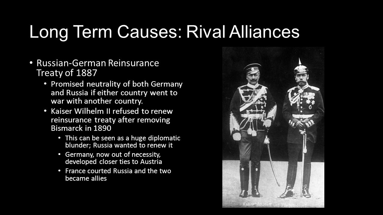 The Great War. Long Term Causes: Rival Alliances 1870: Balance of ...
