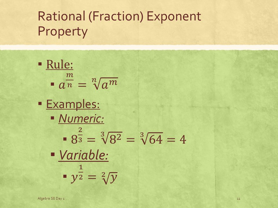 Rational (Fraction) Exponent Property Algebra S8 Day 111