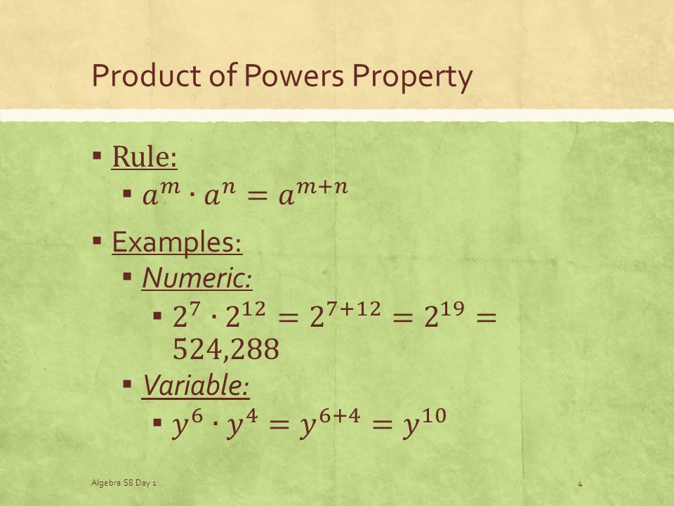 Product of Powers Property Algebra S8 Day 14