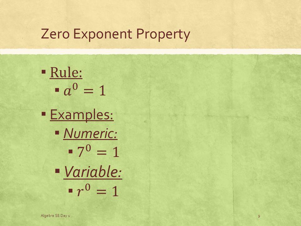 Zero Exponent Property Algebra S8 Day 19