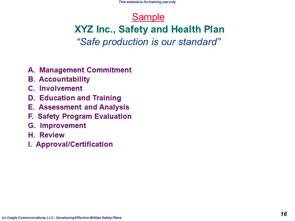 Sample Safety Plan Professional Template Shop Business Templates