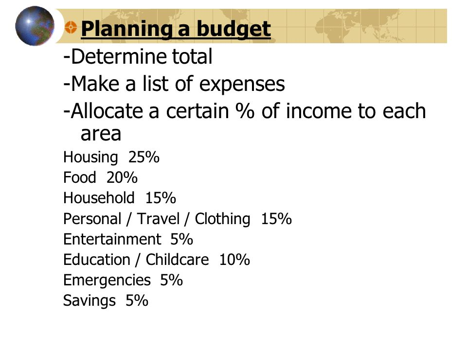 budget expenses list