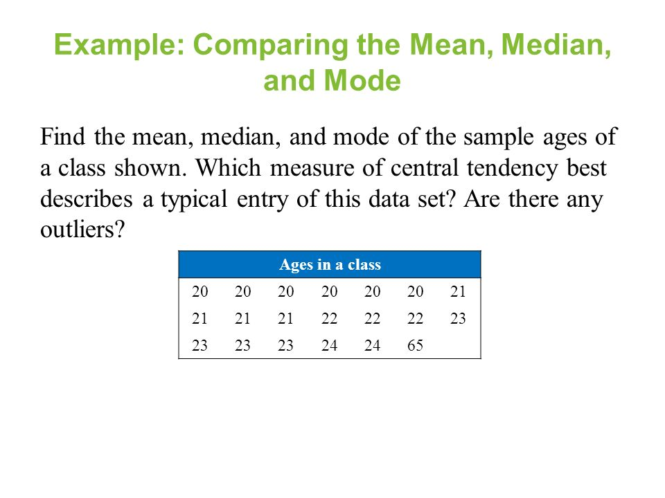 Section 23 measures of central tendency section 23 objectives example comparing the mean median and mode find the mean median ccuart Gallery