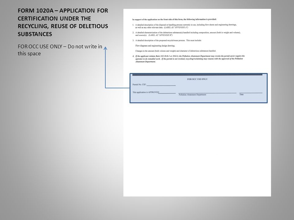 FORM 1020A – APPLICATION FOR CERTIFICATION UNDER THE RECYCLING ...