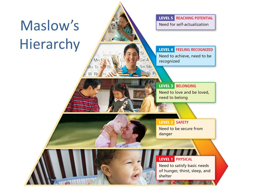 Developing Self-Awareness Maslow's hierarchy shows that once our basic physical and safety needs are met, we become interested in meeting these needs: The need to belong and be loved.