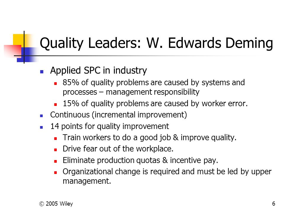 © 2005 Wiley6 Quality Leaders: W.