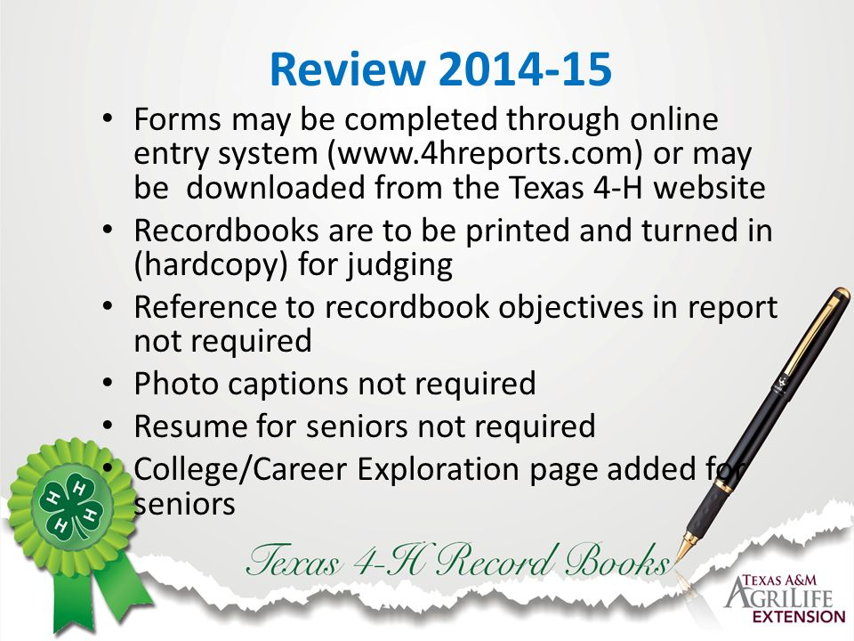 Texas 4-H Recordkeeping, H Record Books …. and beyond Information ...