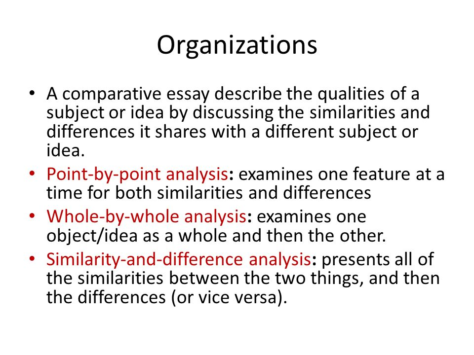 essays comparison contrast ideas