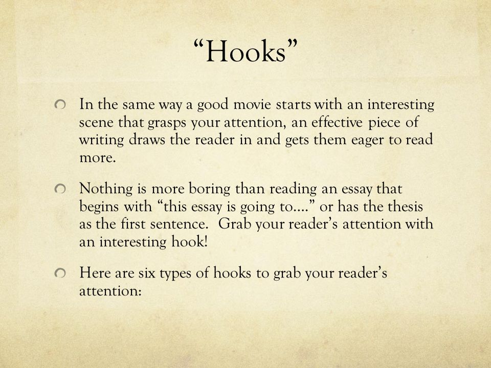 good hook sentences for essays