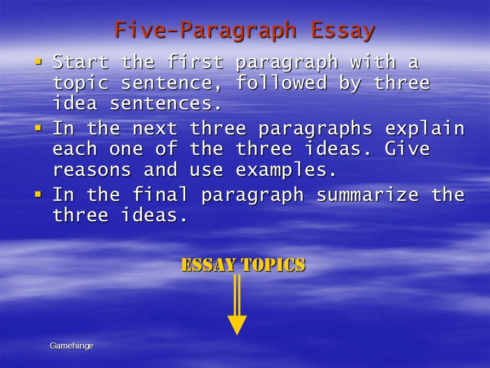 five paragraphs essays A common method for writing an argumentative essay is the five-paragraph approach this is, however, by no means the only formula for writing such essays.