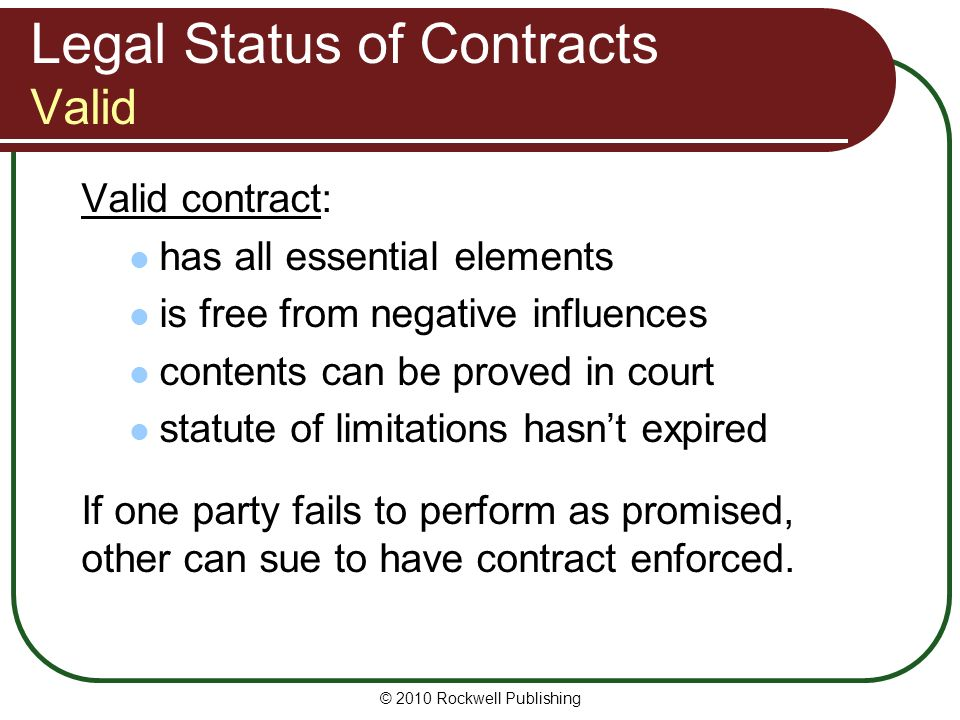 2010 Rockwell Publishing Lesson 6: Contract Law Principles Of