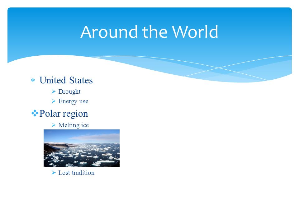  United States  Drought  Energy use  Polar region  Melting ice  Lost tradition Around the World