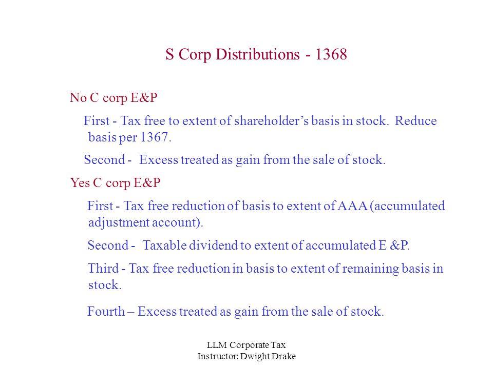 LLM Corporate Tax Instructor Dwight Drake C Corp Distribution – Shareholder Basis Worksheet