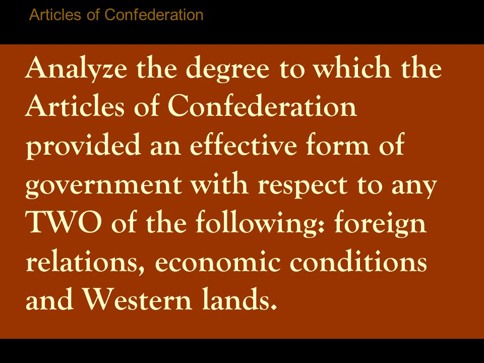 an examination of the articles of confederation