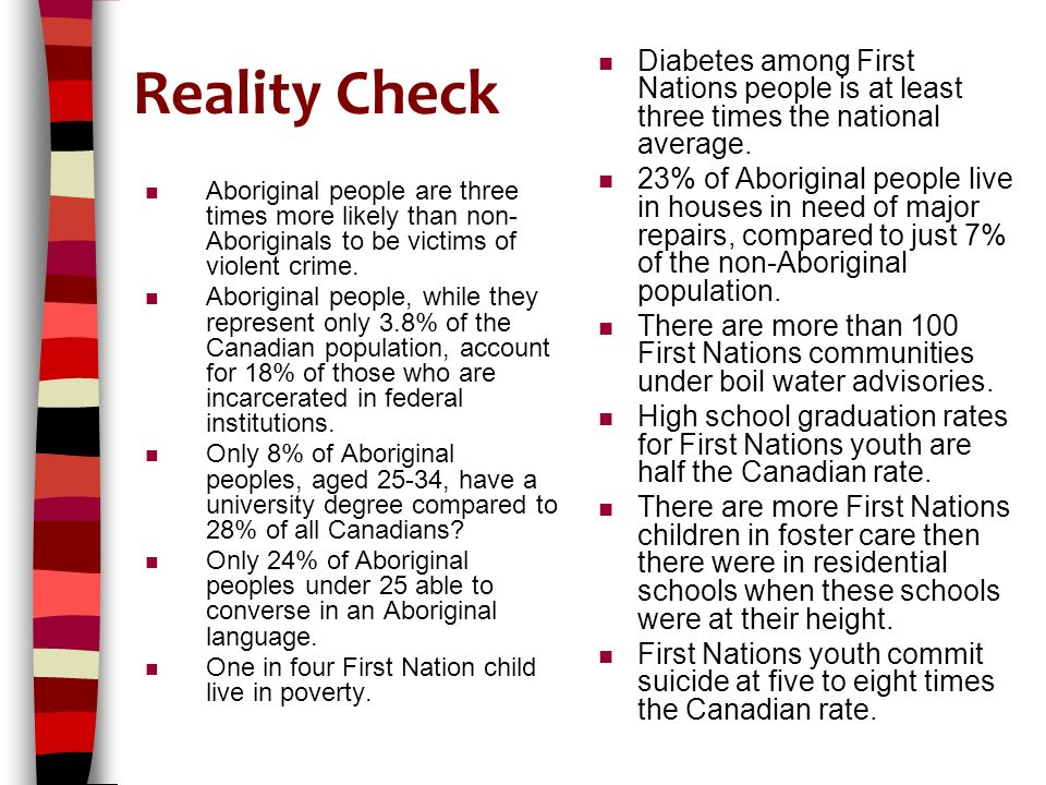 Reality Check n Aboriginal people are three times more likely than non- Aboriginals to be victims of violent crime.