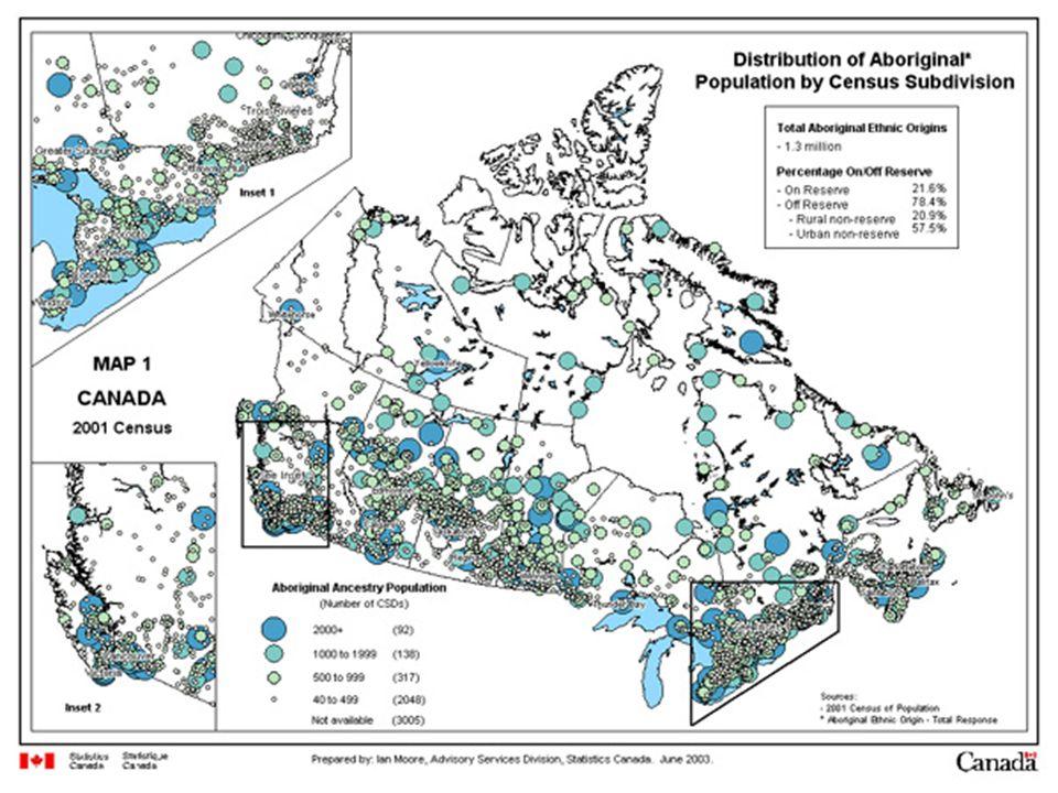 Distribution of Aboriginal Orgins Populations Across Canada