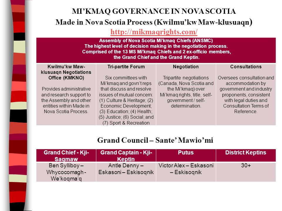 Assembly of Nova Scotia Mi'kmaq Chiefs (ANSMC) The highest level of decision making in the negotiation process.