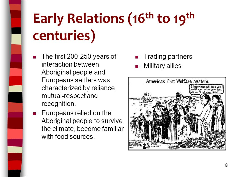 Early Relations (16 th to 19 th centuries) n The first 200-250 years of interaction between Aboriginal people and Europeans settlers was characterized by reliance, mutual-respect and recognition.