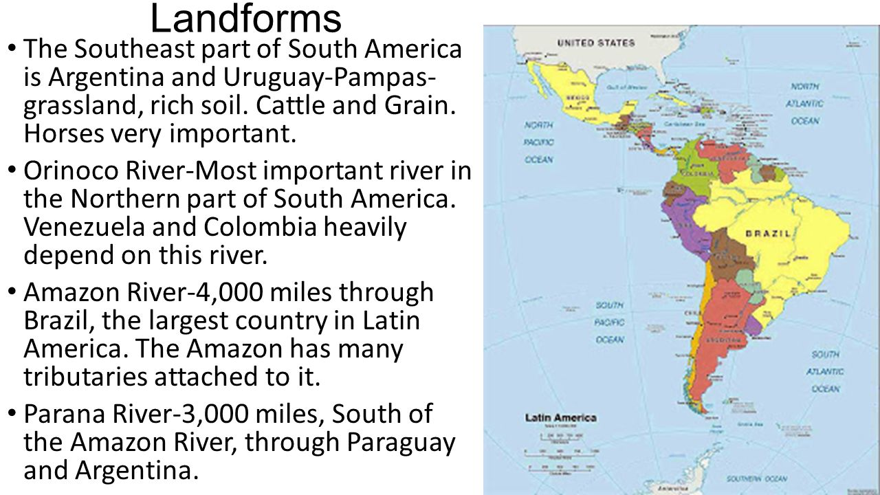 Physical Geography Of Latin America Landforms Latin America - Argentina landforms map