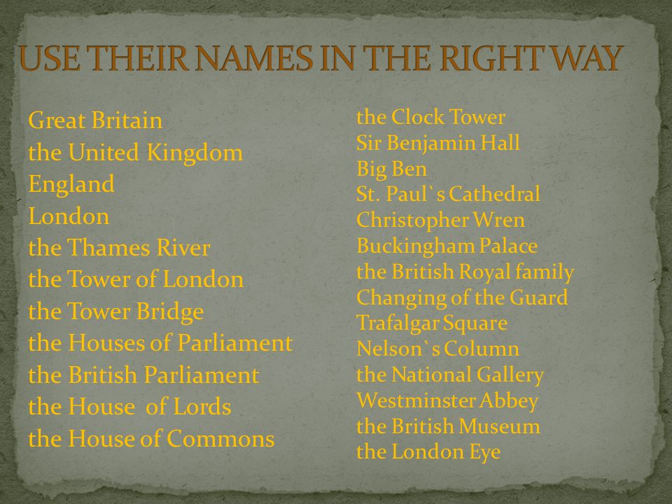 Great Britain the United Kingdom England London the Thames River the Tower of London the Tower Bridge the Houses of Parliament the British Parliament the House of Lords the House of Commons the Clock Tower Sir Benjamin Hall Big Ben St.